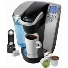 Keurig K75 Platinum Brewing System Review and a picture of the coffee machine.